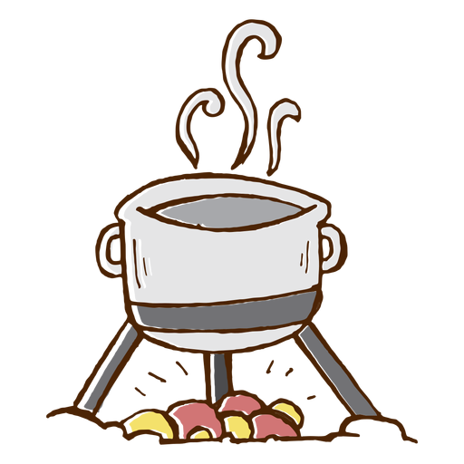 Camping cooking pot icon.