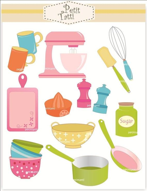 Kitchen tools and utensils clipart.