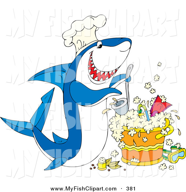 Clip Art of a Hungry White and Blue Shark Wearing a Chef Hat.