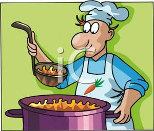 Chef Cooking Up a Big Pot of Vegetable Soup.