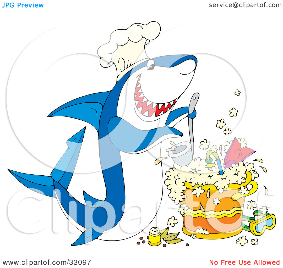 Clipart Illustration of a Hungry White And Blue Shark Wearing A.