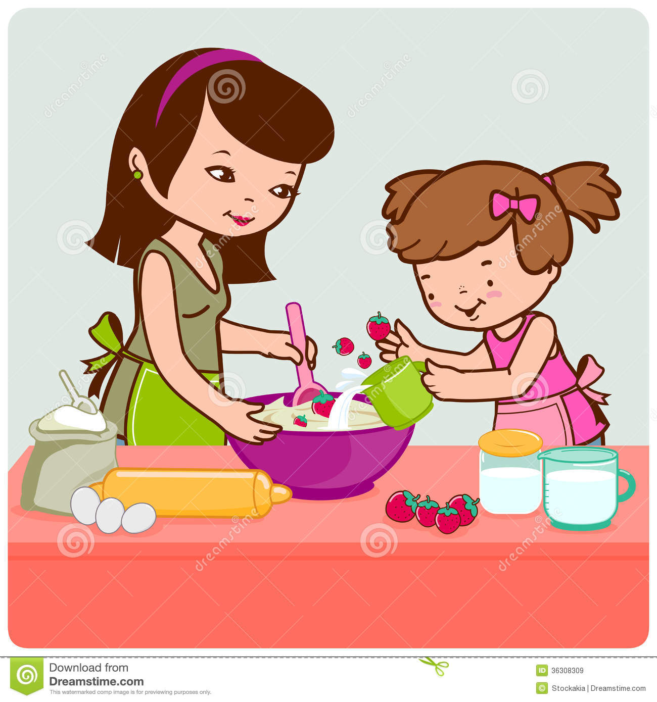 Make meme with Mother Daughter Cooking Clipart.