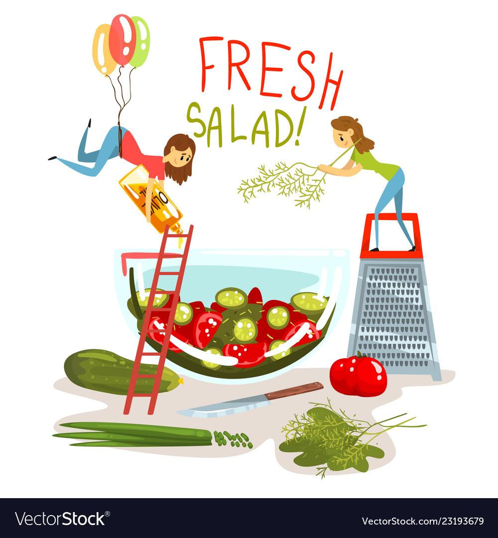 Fresh salad little women cooking green salad.