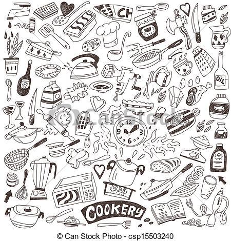 EPS Vector of cookery doodles csp15503240.