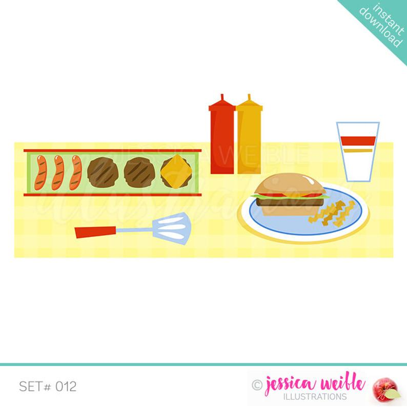 BBQ Table Cute Digital Clipart, Cookout Clip art, Barbeque Graphics,  Cookout Table Illustration, #012.