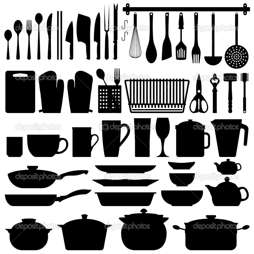 Kitchen Utensils Silhouette Vector — Stock Vector © leremy #4559690.
