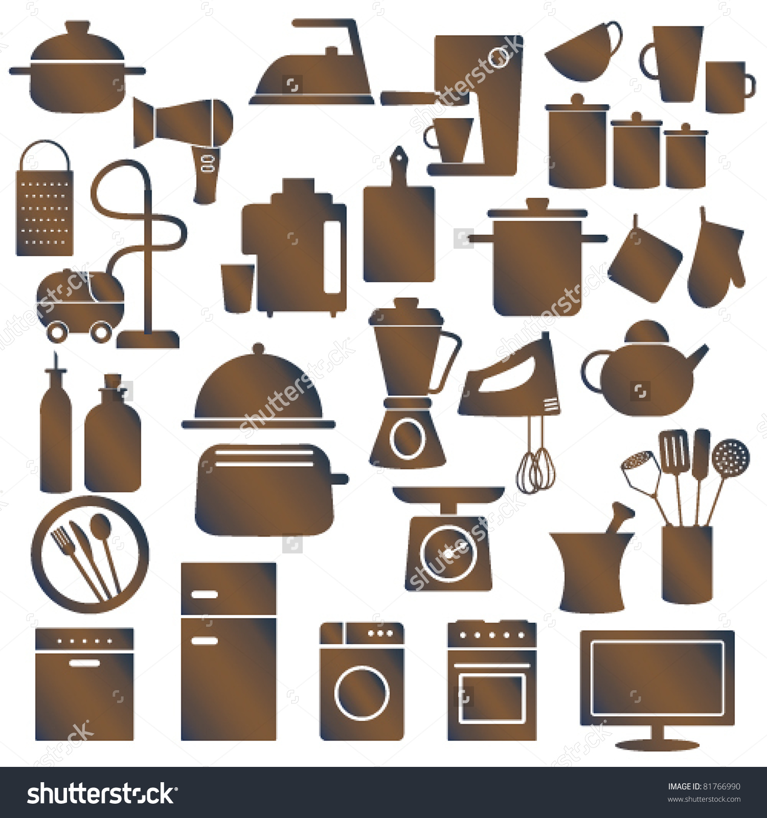 Various Household Appliances Kitchen Utensils Stock Vector.