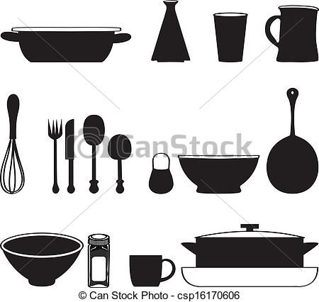 Seamless Pattern With Kitchen Utensils pot, cup, pan, set, dish.