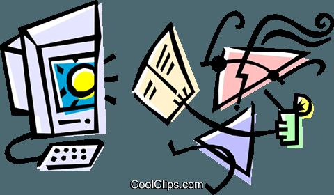 Cool computer user Royalty Free Vector Clip Art illustration.