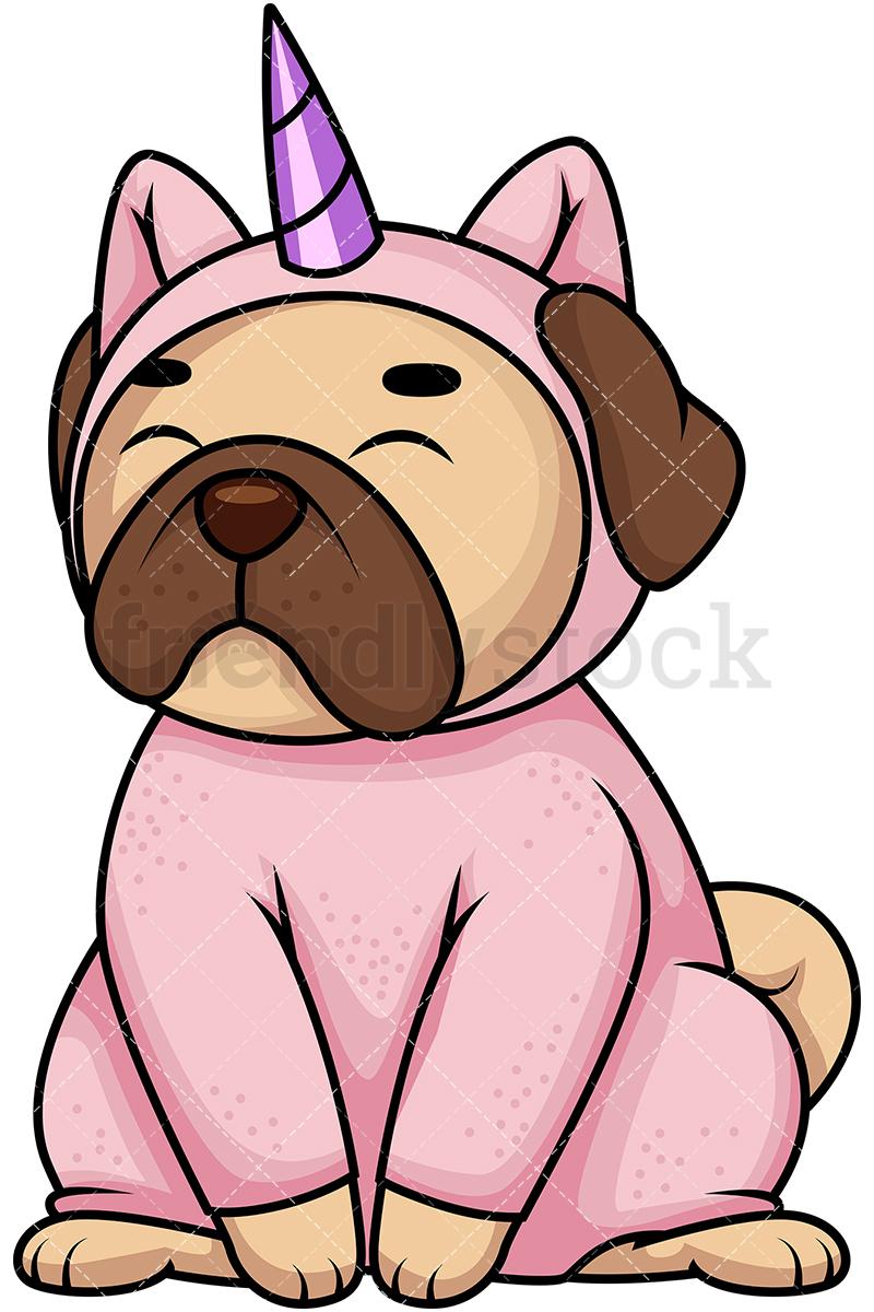 Pug Dog In Unicorn Costume.