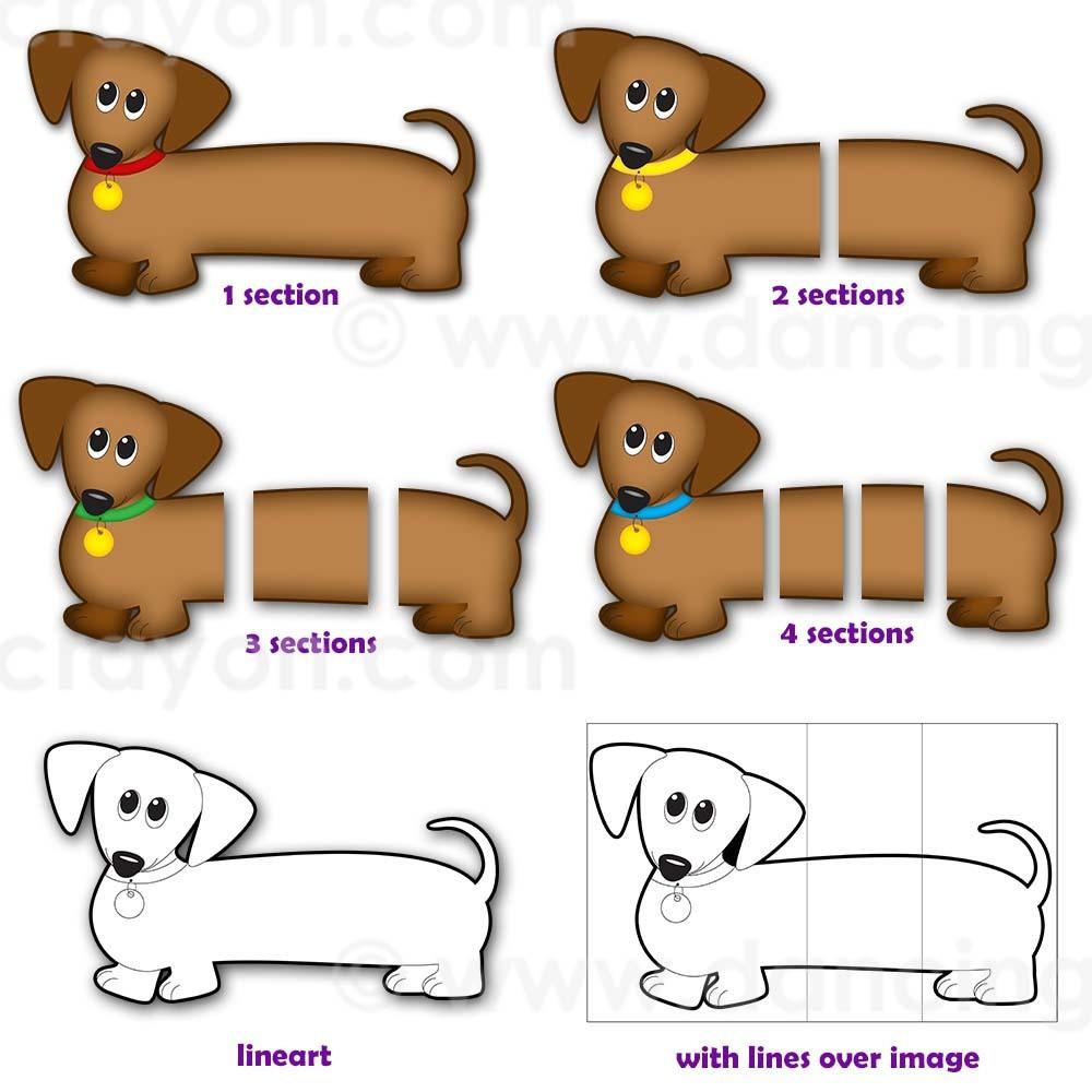 Dog Clip Art: Dachshund Dog (Wiener Dog / Sausage Dog).