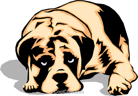 Sad looking Dog Royalty Free Vector Clip Art illustration.