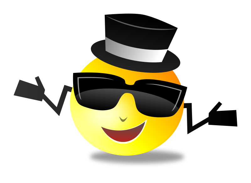 Free Clipart: Cool Dapper Shruggy Smiley.