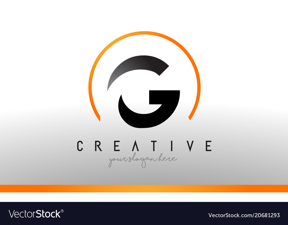 G letter logo design with black orange color cool.