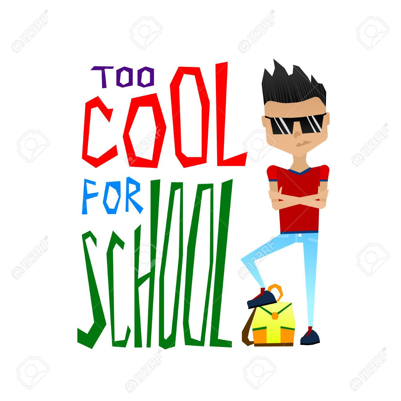 Cute Colorful Vector School Illustration with Cool School Boy...