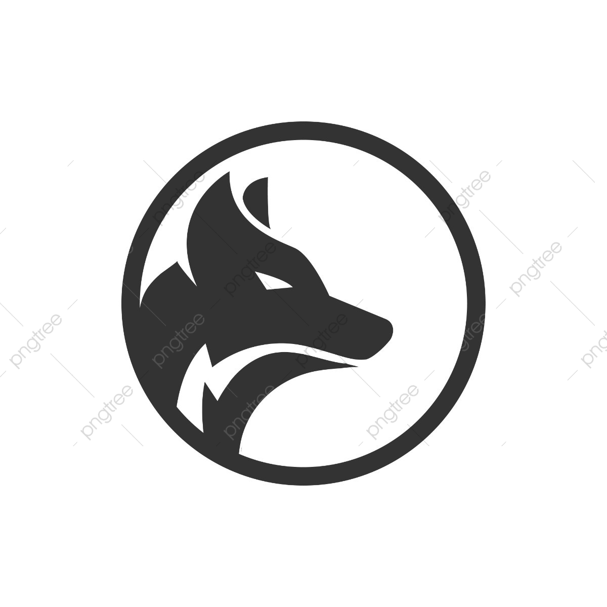 Circle Wolf Logo Design Concept, Circle, Pictogram, Cool PNG and.