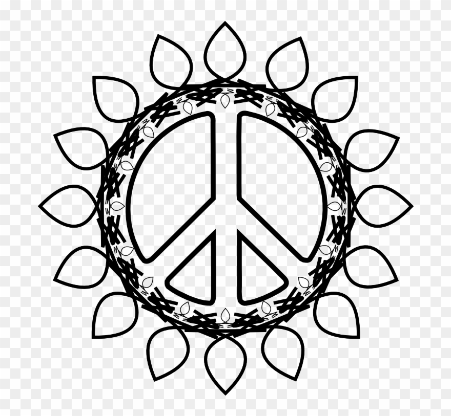 Peace Symbol Peace Sign Flower 73 Black White Line.