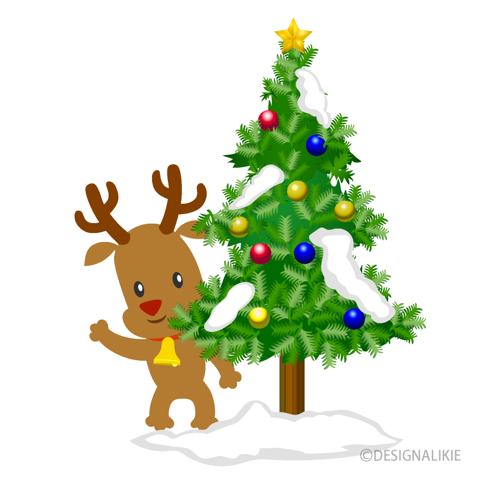 Free Christmas Tree and Reindeer Clipart Image|Illustoon.
