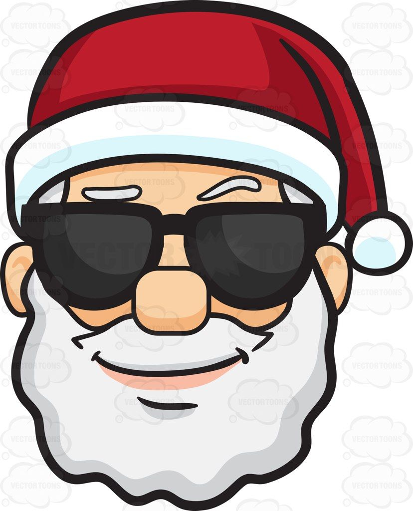 A cool looking face of Santa Claus #cartoon #clipart #vector.