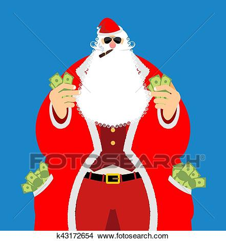 Rich Santa Claus and lot of money. Pocketful of cash. Earnings for  Christmas. Cool old man after work. Xmas income. New Year emolument wealth  Clipart.