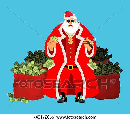 Cool Santa and red bag with money. Claus after work. Pocketful of cash.  Earnings for Christmas. Rich old man. Xmas gainings. New Year income  wealth..
