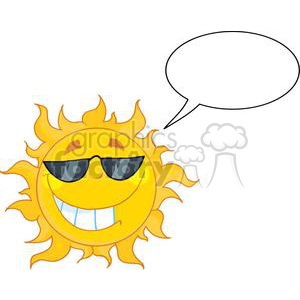 cool sun character clipart. Royalty.