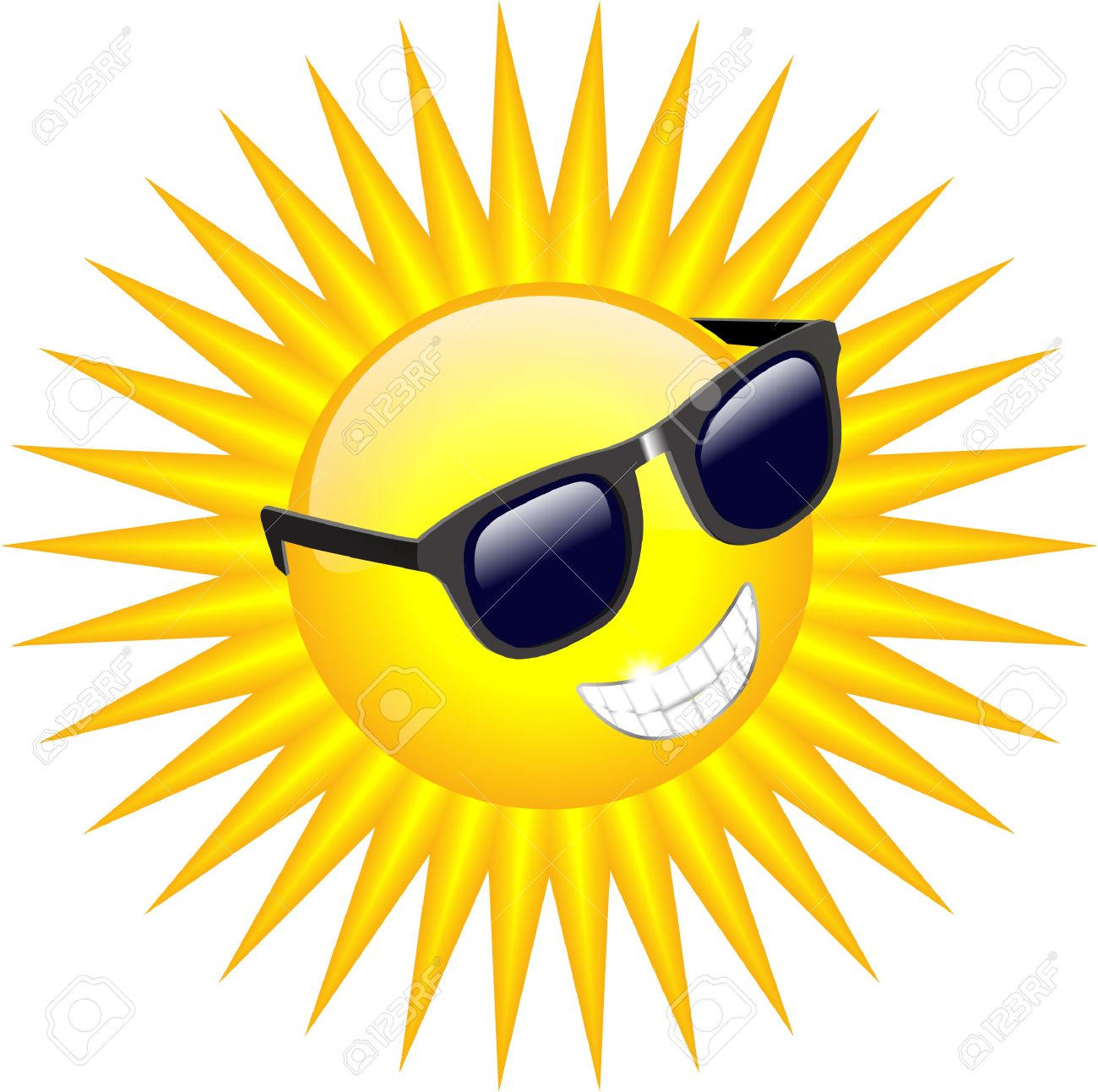COOL SUN WITH SUNGLASSES.