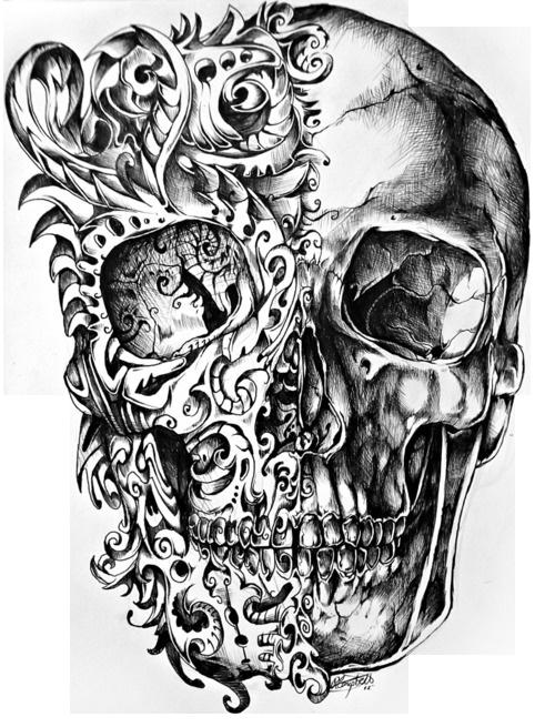 Cool Skull Tattoo Design Drawing PNG.
