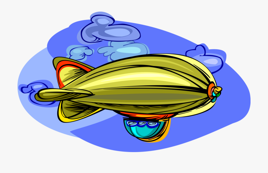 Vector Illustration Of Dirigible Or Blimp Airship Lighter.