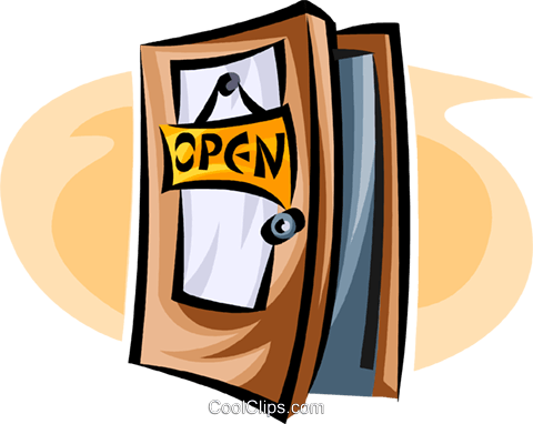 open door Royalty Free Vector Clip Art illustration.