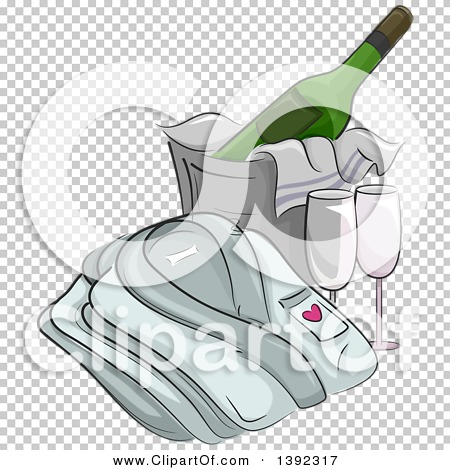 Clipart of a Folded Bath Robe by a Bucket of Cooled Champagne and.