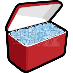 cooler loaded with ice clipart. Royalty.