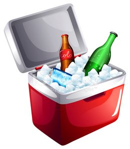 Cooler with softdrinks Clipart Image.