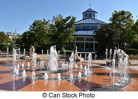 Stock Photography of Coolidge Park in Chattanooga, Tennessee.