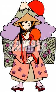 of a Chinese Girl Wearing a Coolie Hat and Zoris.