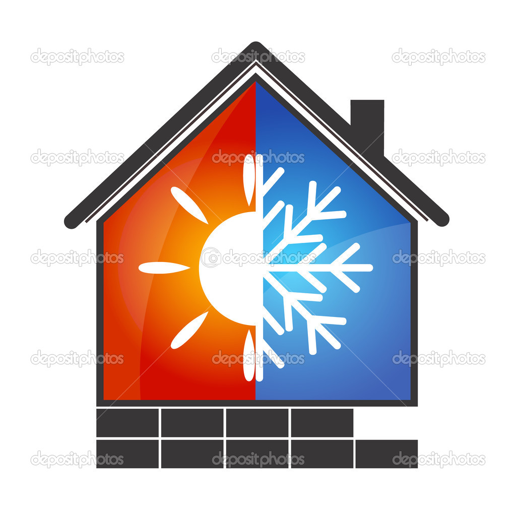 Heating and Cooling Logo Clip Art.