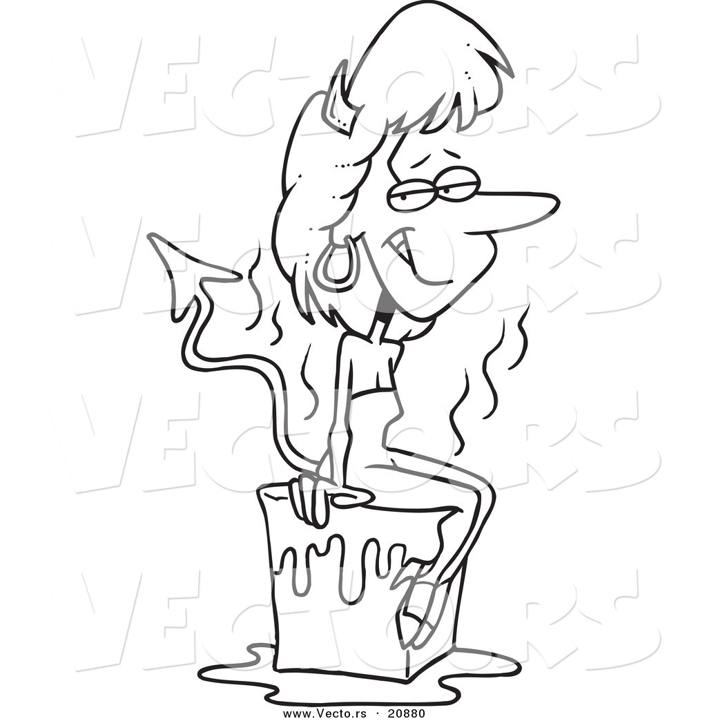 Vector of a Cartoon She Devil Cooling off on a Block of Ice.
