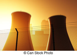 Clipart of Radioactivity Sign And Nuclear Power Plant.