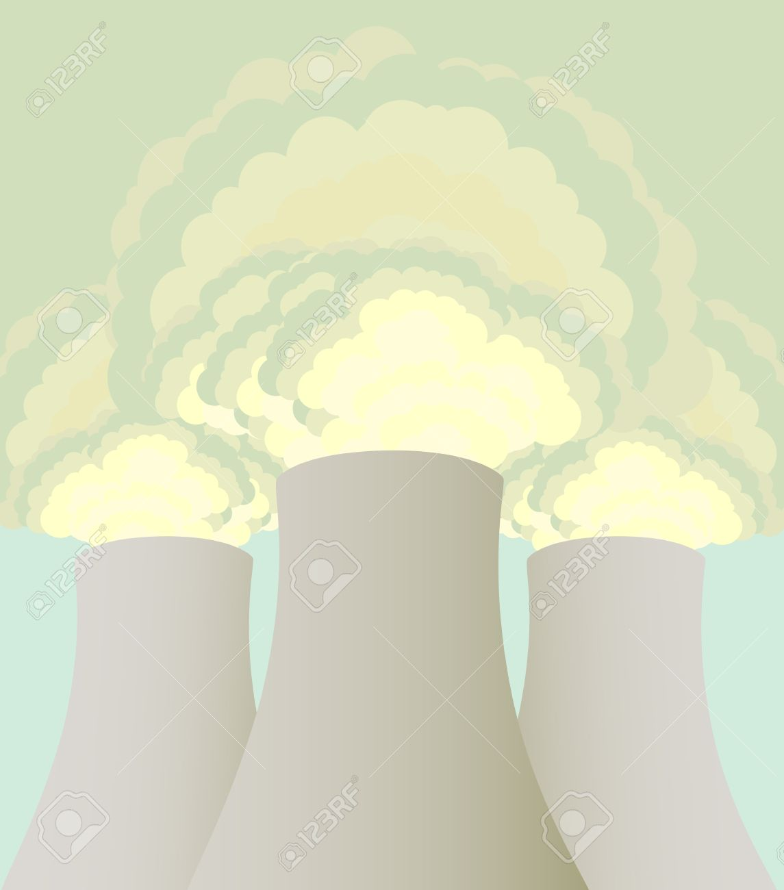 Nuclear Power Station Cooling Towers Vector Background Royalty.