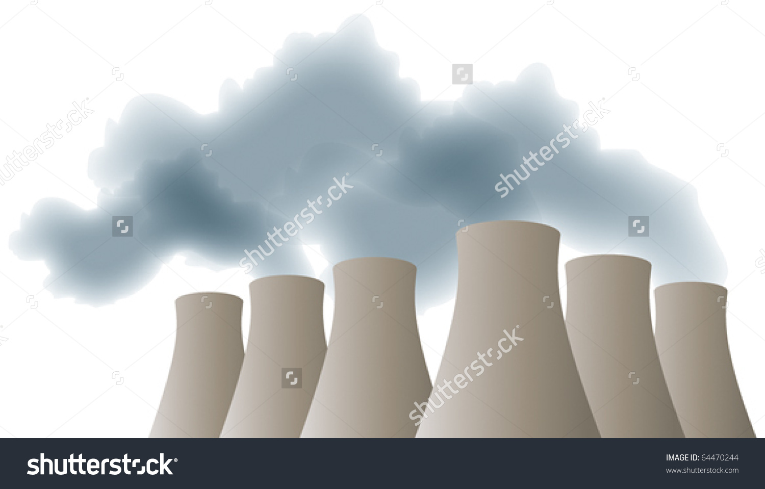 Cooling Towers With Smoke, Steam Stock Vector Illustration.