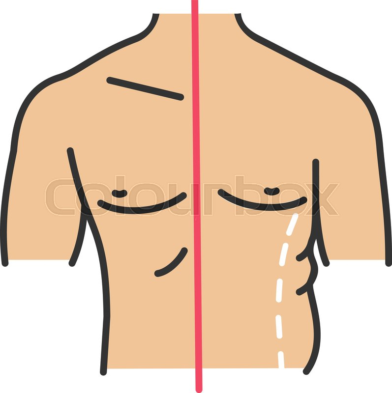 Male coolsculpting color icon. Flanks.