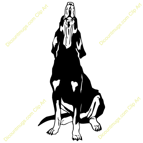 Coon Dogs Treeing Clipart.