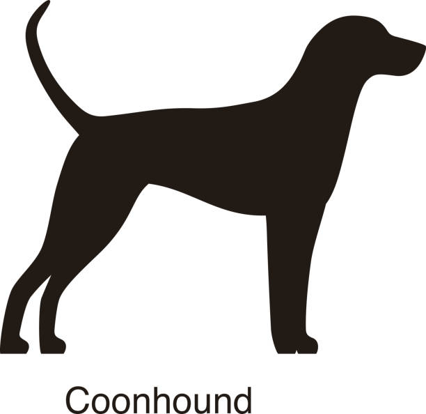 Coonhound dog silhouette, side view, vector » Clipart Station.