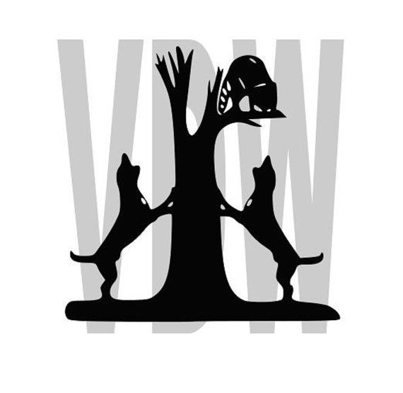 coon dogs hunting Cutting Files Silhouette SVG, DXF and EPS vinyl.