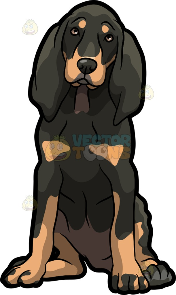 A Beautiful Coonhound Pet Dog Cartoon Clipart.