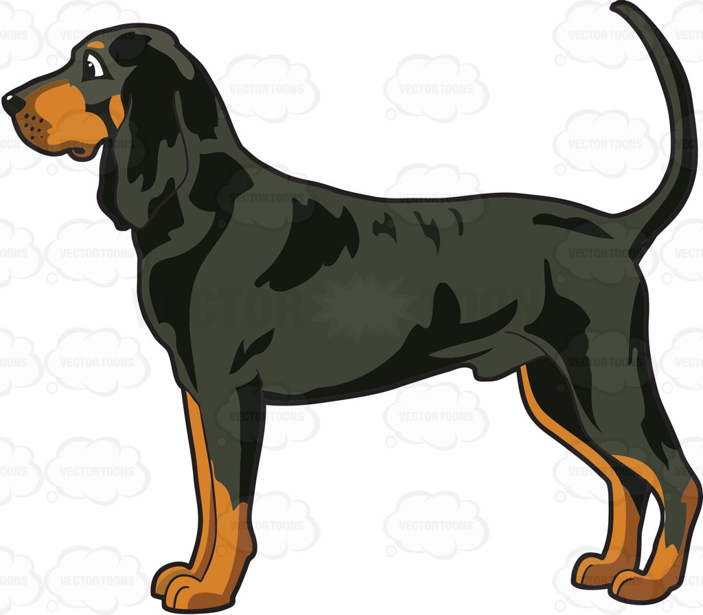 Black and tan coonhound clipart.