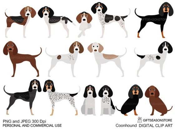 Coonhound dogs digital clip art for Personal and Commercial.