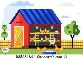 Chicken coop Clipart and Stock Illustrations. 24 chicken coop.