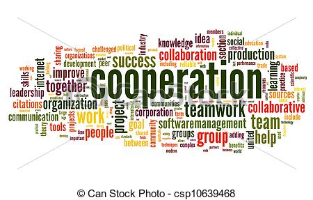 Stock Illustration of Cooperation concept in word tag cloud on.