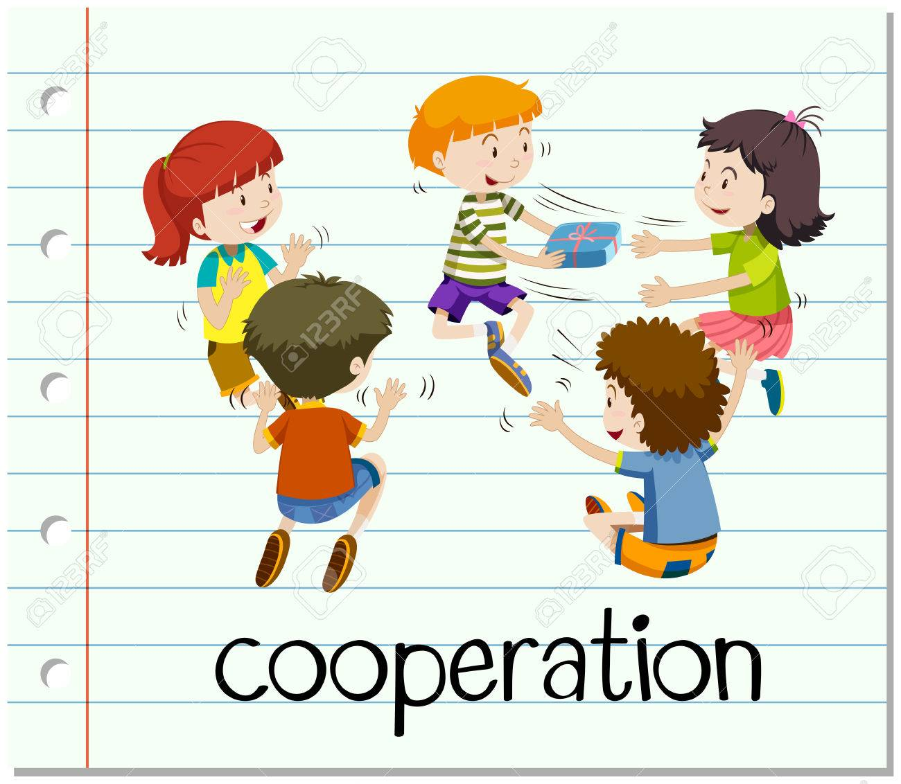 Word card with cooperation illustration.